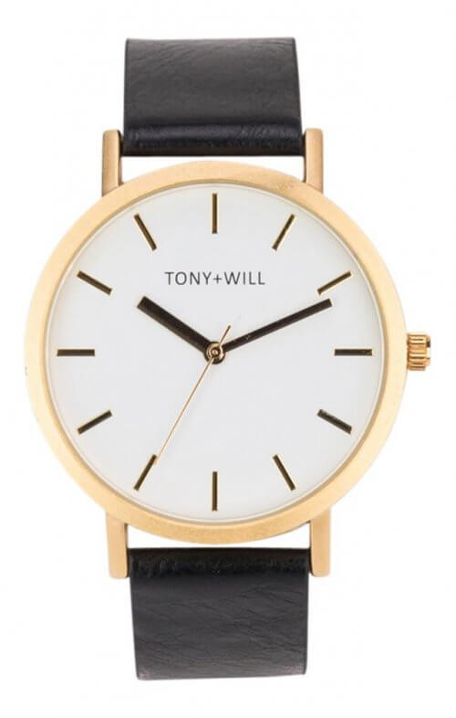 tony + will gold white black watch