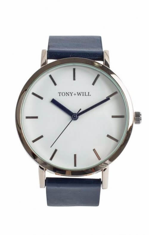 tony + will silver white navy watch