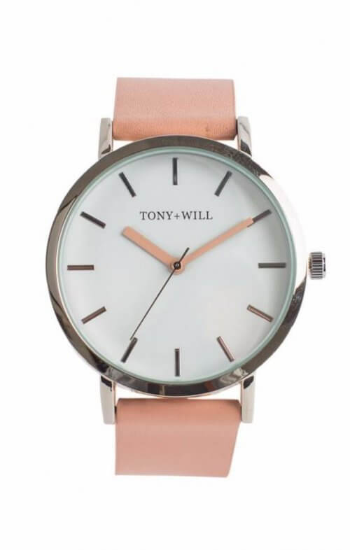 tony + will silver white peach watch