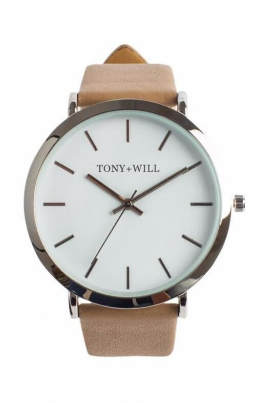 tony + will slim watch silver white beige