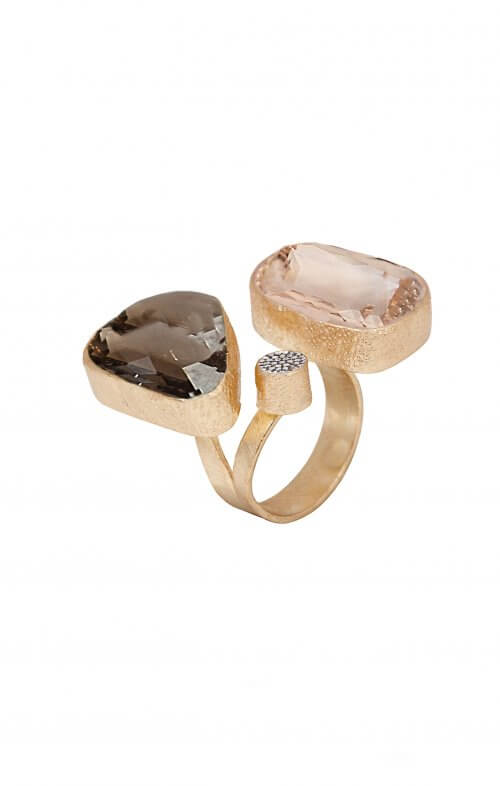 atelier mon gemstone double finger ring PQSTZ