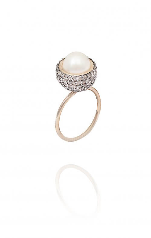 atelier mon statement ring pearl pave