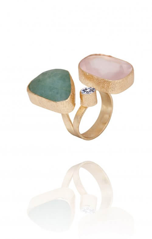 atelier mon gemstone double finger ring