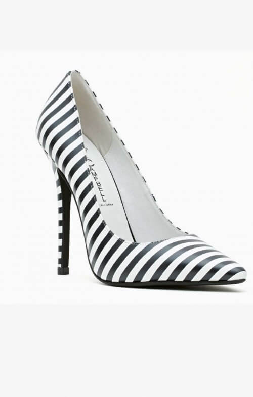 jeffrey campbell darling black white stripe shoes
