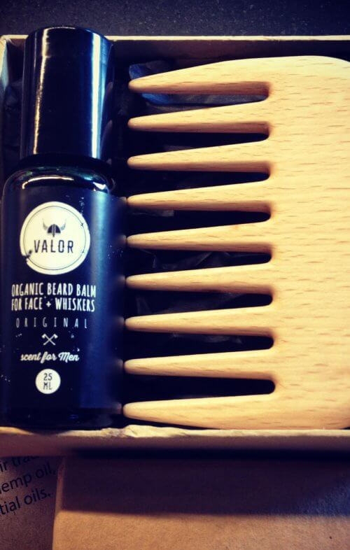 shave with valor beard oil beard comb set