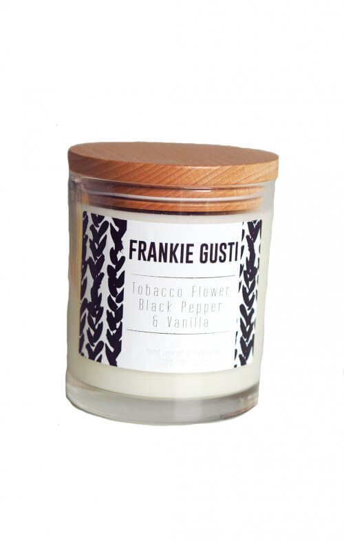 frankie gusti wood lid tobacco flower black pepper candle