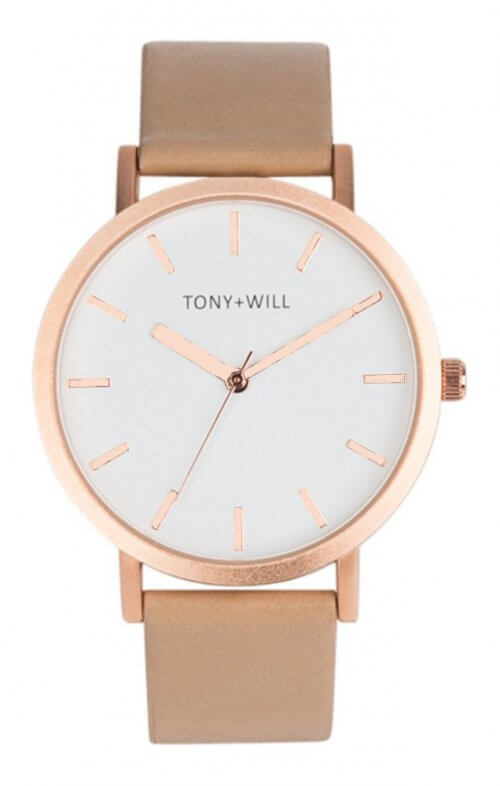 tony + will rose gold white beige watch
