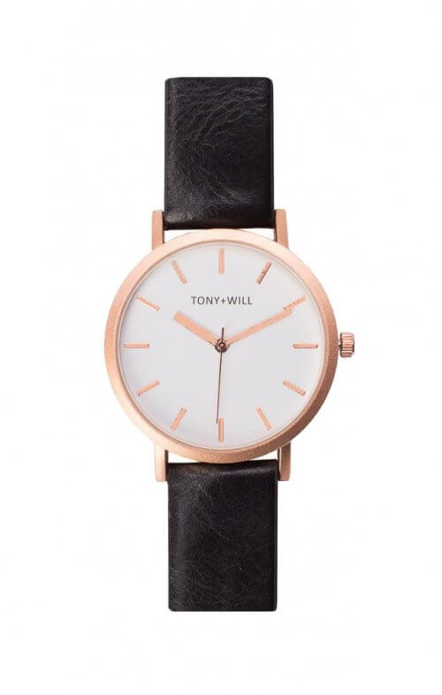 tony + will rose gold white black watch