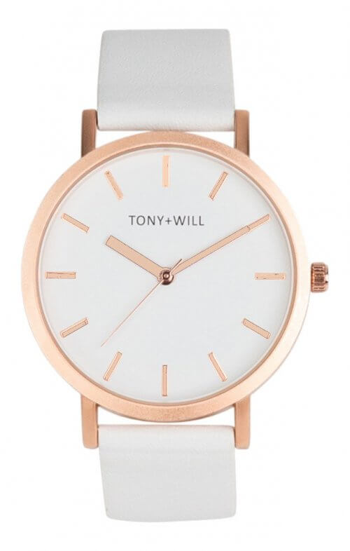 tony + will rose gold white watch