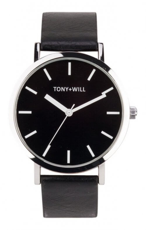 tony + will silver black watch