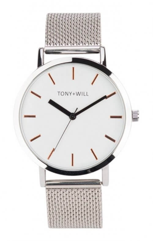 tony + will silver mesh watch