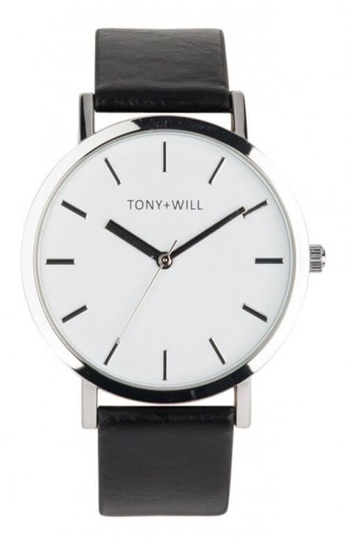tony + will silver white black watch