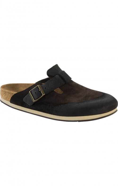 birkenstock boston dark brown suede