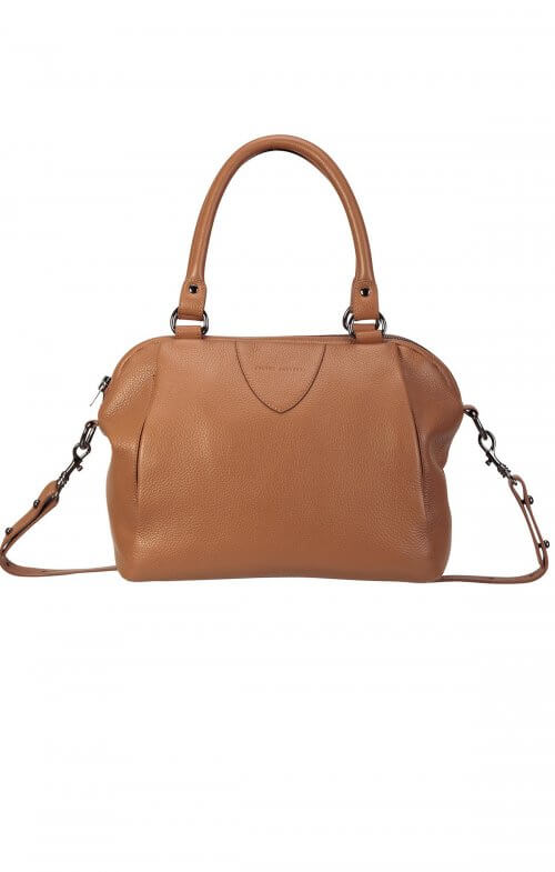 status anxiety force of being leather handbag tan