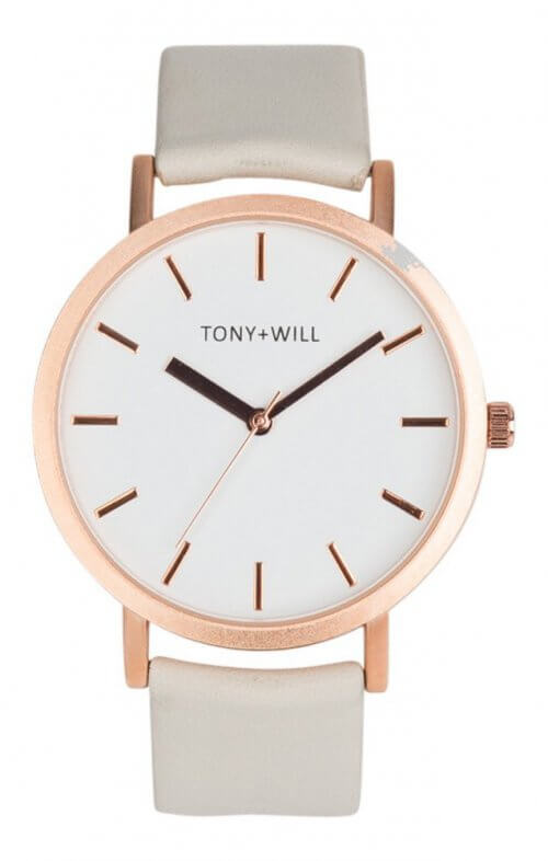 tony + will rose gold white grey watch classic