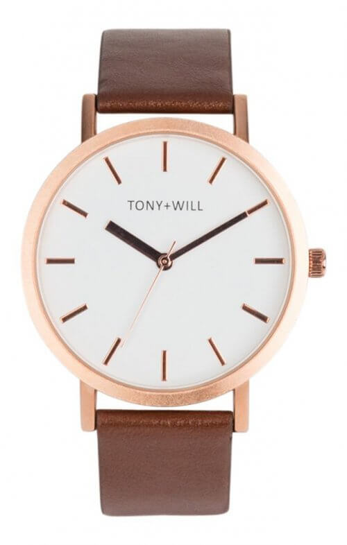 tony + will rose gold tan white watch classic