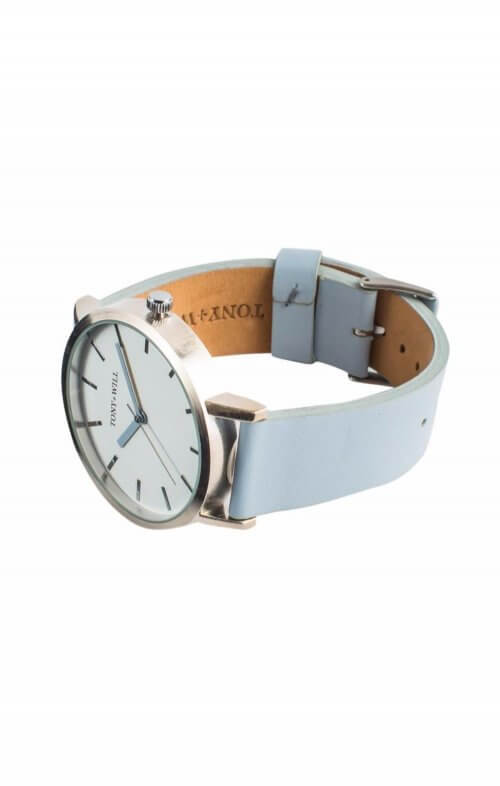 tony will silver white powder blue classic watch2