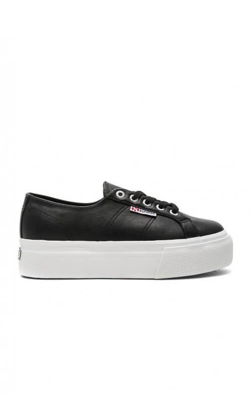 superga flatform linea sneaker black white 2790
