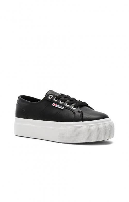 superga flatform 2790 black leather sneaker