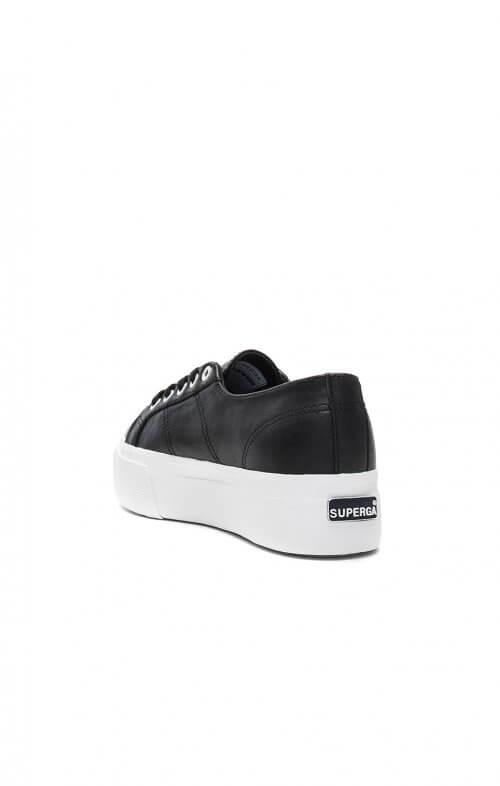 superga flatform linea sneaker black white 2790 c