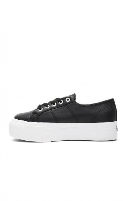 superga flatform linea sneaker black white 2790 e