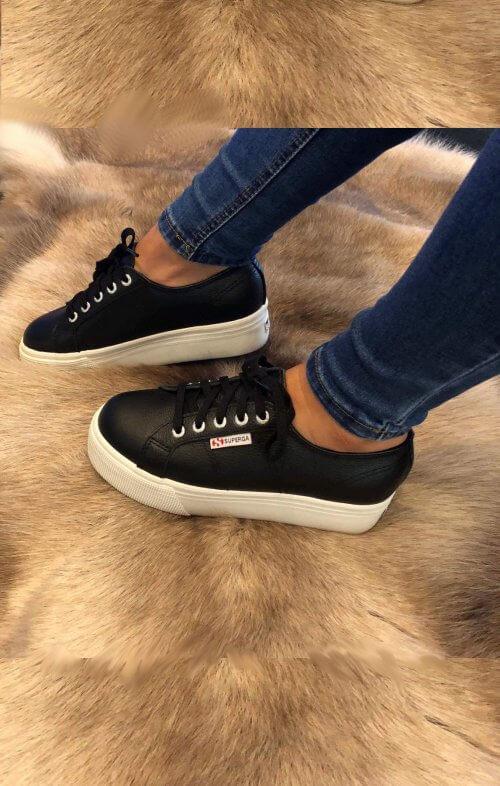 superga flatform linea sneaker black white 2790 g