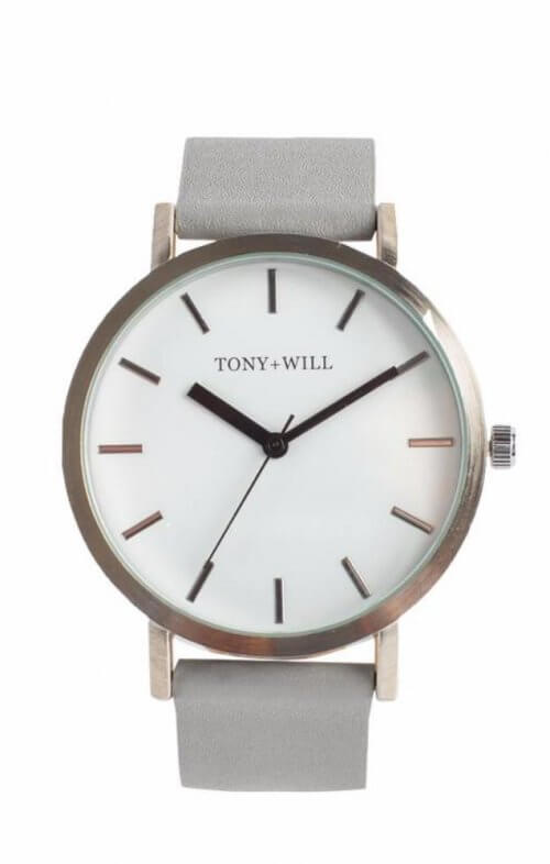 tony + will silver grey white classic watch