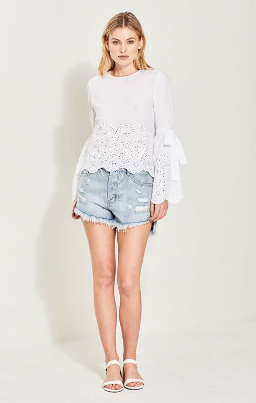 imonni lea cotton lace top white