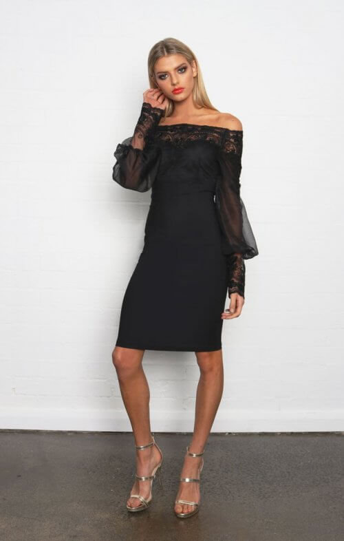 isla off shoulder dress black lace