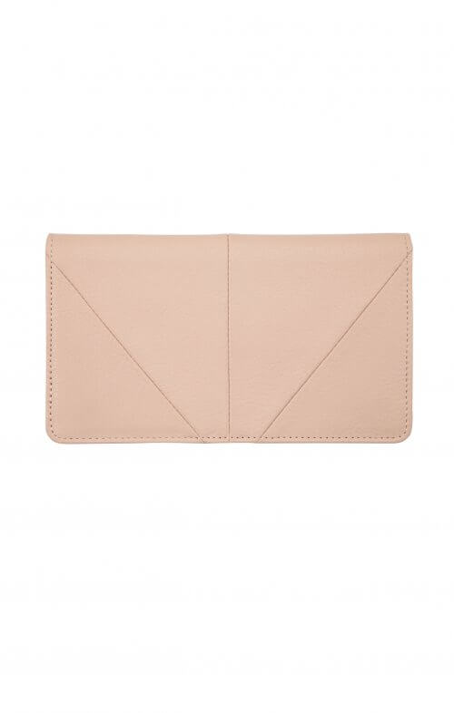 status anxiety wallet triple threat dusty pink