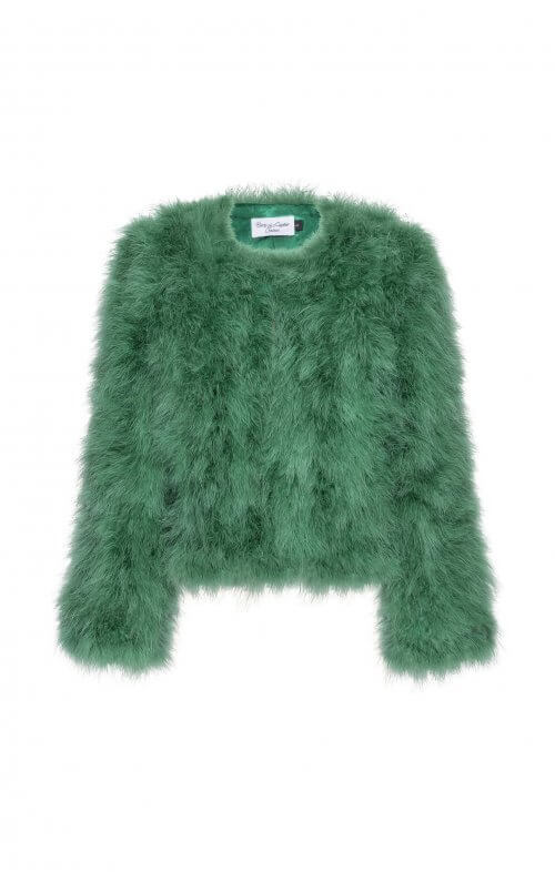 birds of a feather jorga feather jacket emerald green