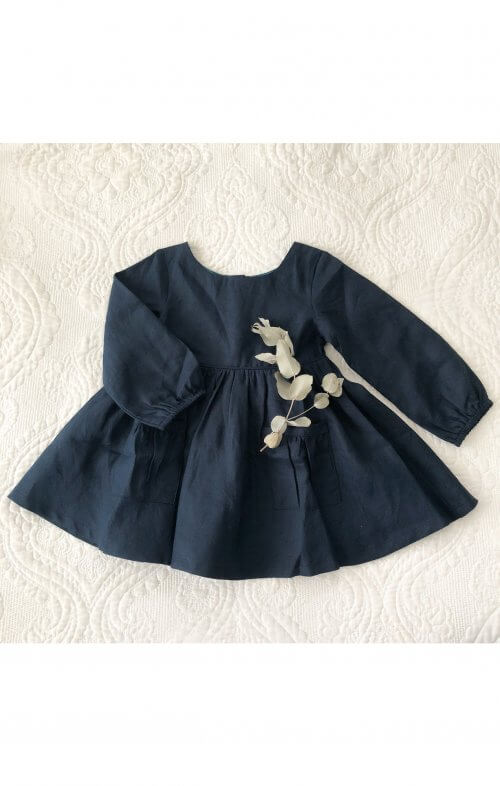 two darlings navy linen long sleeve dress