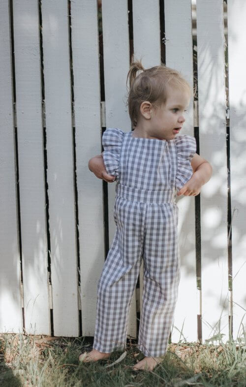 two darlings flutter overalls gingham grey