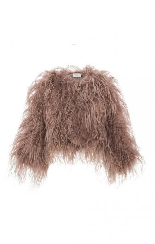 dita ostrich feather jacket taupe