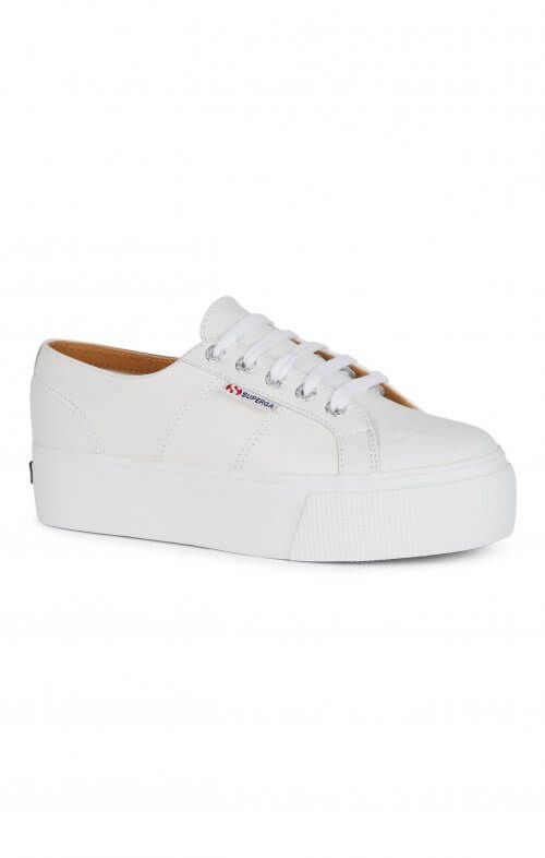 superga flatform 2790 white leather sneaker