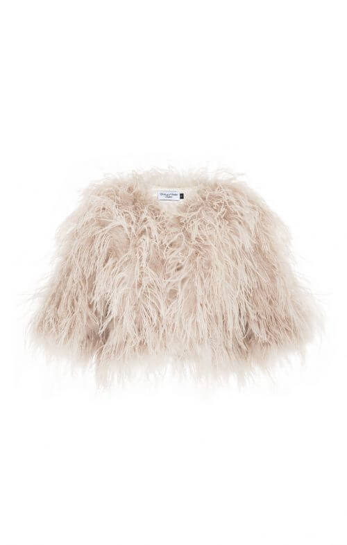 birds of a feather lux ostrich feather jacket blush