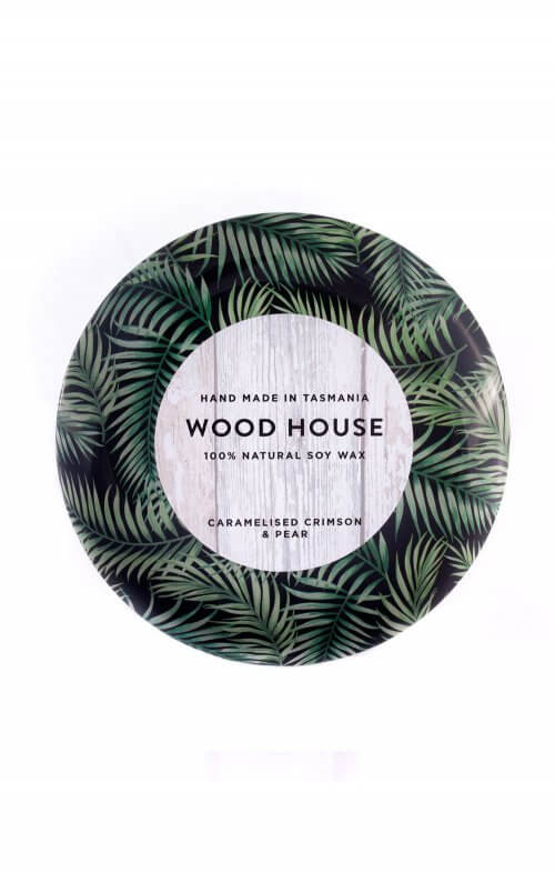 wood house palm leaf tin candles