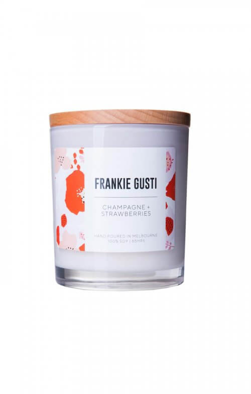 frankie gusti champagne strawberries soy candle