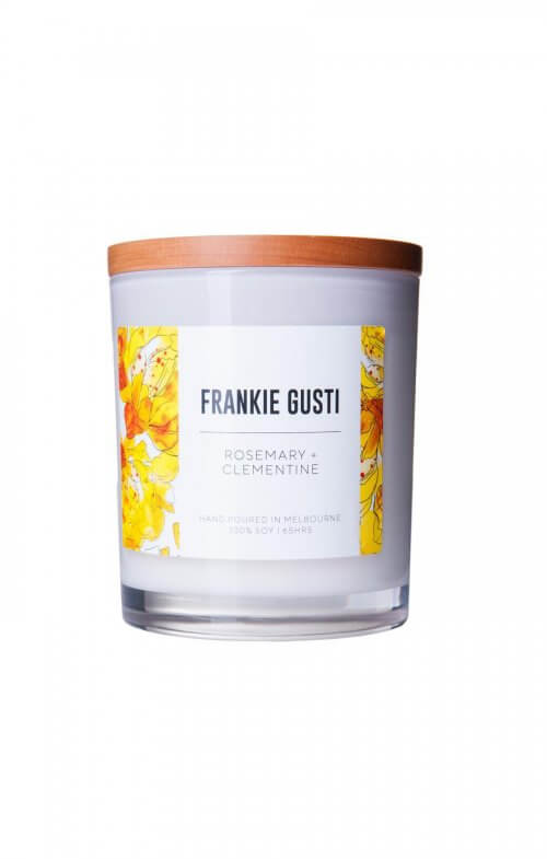 frankie gusti rosemary clementine soy candle