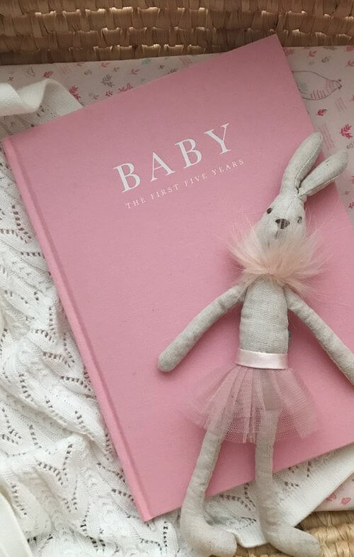 write to me baby journal birth to five years pink