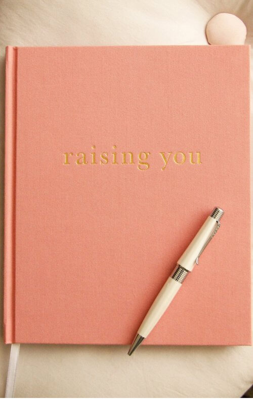 write to me raising you journal pink
