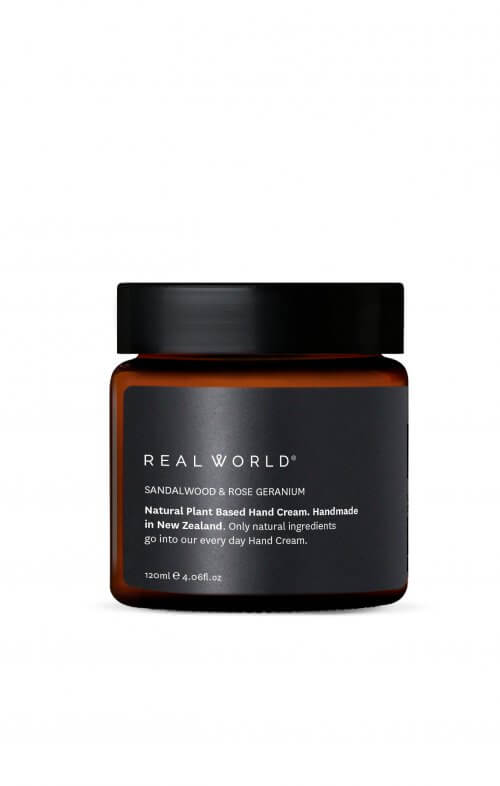 real world hand cream sandalwood rose geranium