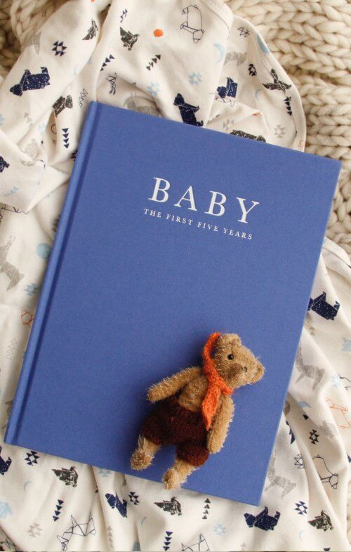 write to me baby journal birth to five years blue