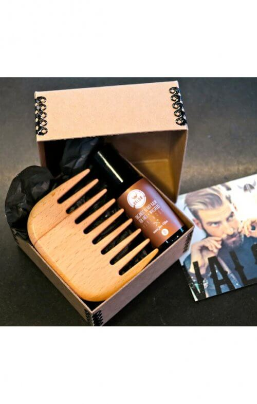 shave with valor firewood beard oil comb set