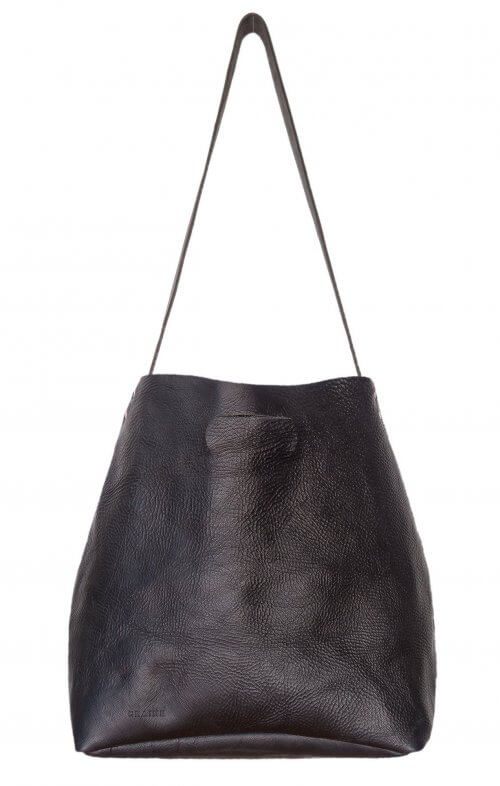 graine lygon luxe leather bag black