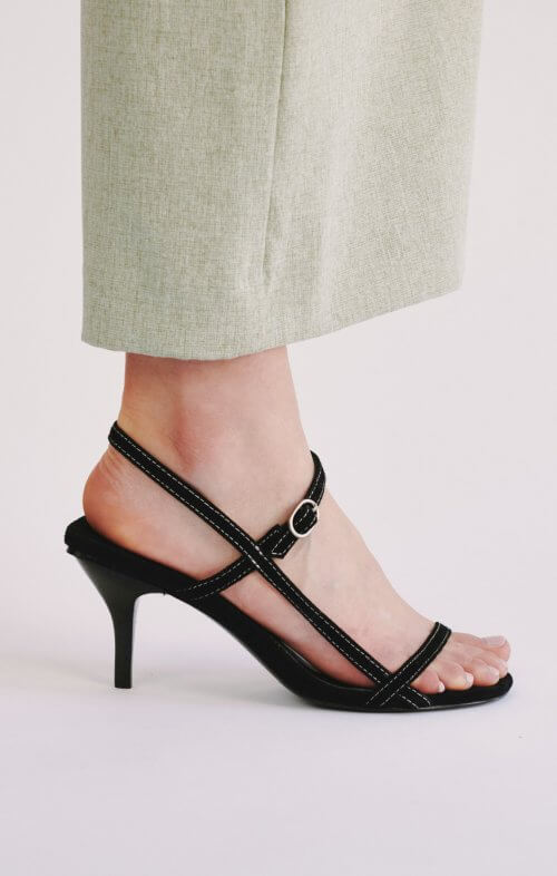 jaggar strappy suede sandals black