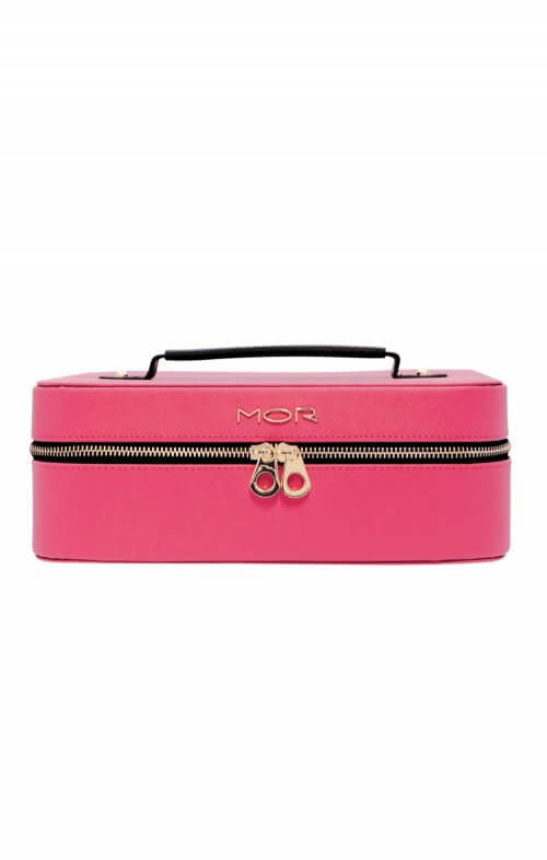 mor cosmetic bag train case black pink
