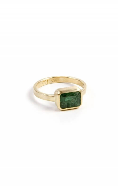 FAIRLEY RING DECO EMERALD SIZE 7