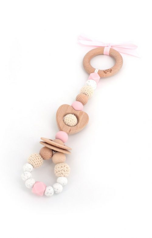 LLUIE LOVE HEART TEETHING TOY PALE PINK