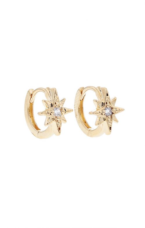 JOLIE & DEEN CRYSTAL STAR EARRINGS GOLD